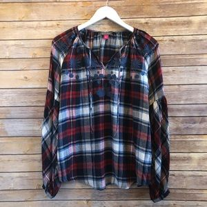 Vince Camuto Embroidered Plaid Peasant Blouse